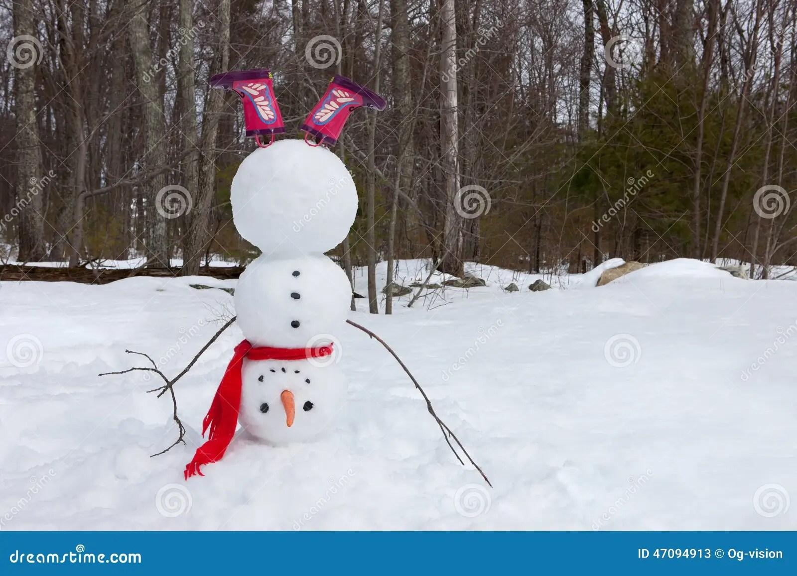 Upside Down Snowman Stock Photo Image 47094913