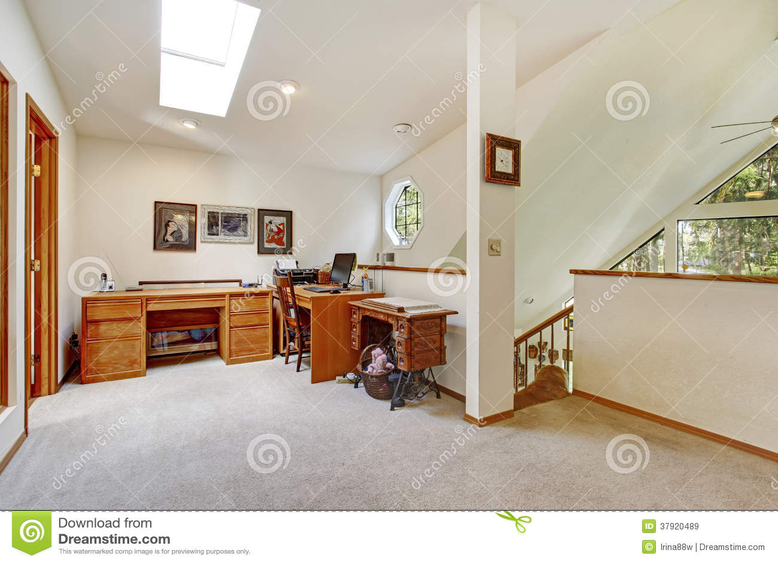 Upstairs Office Room Open Wall Design Idea Stock Image