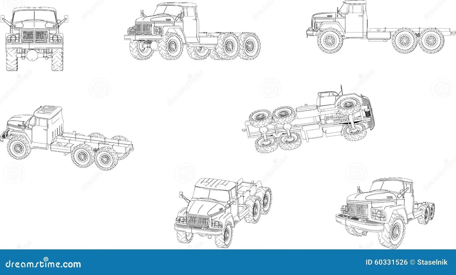 Ural Truck Stock Vector