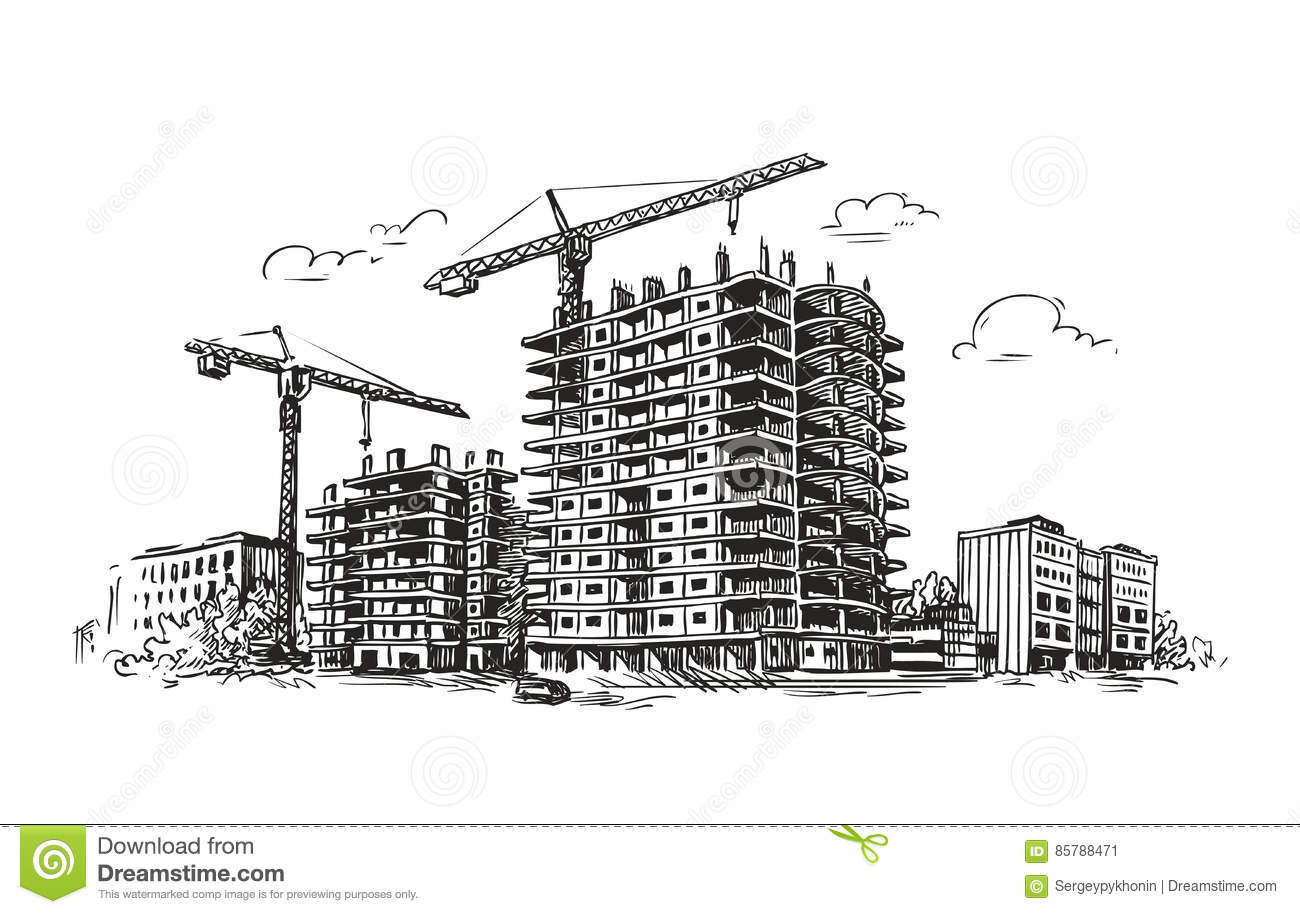 Urban Construction Building Sketch City House Town