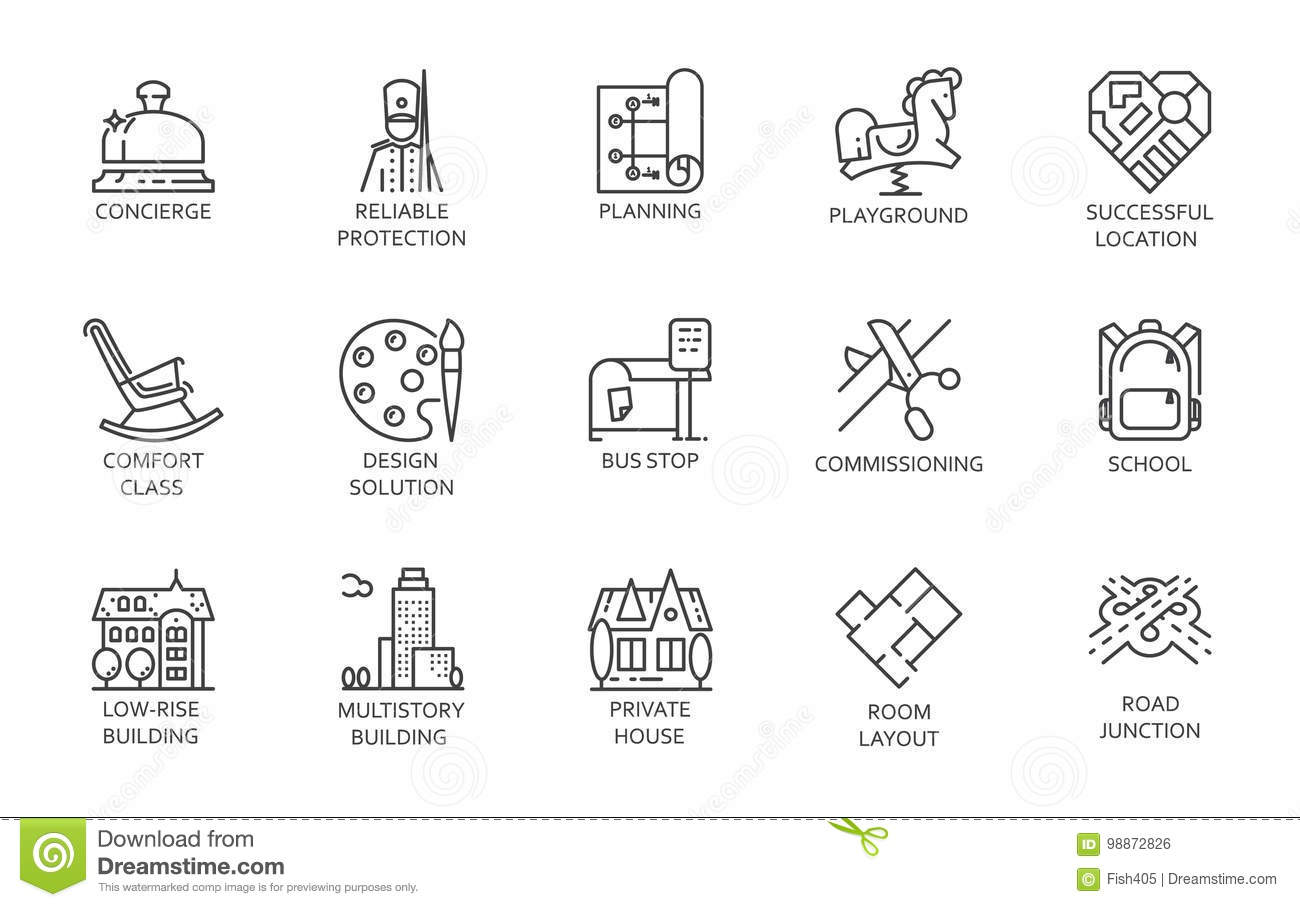 Urban Infrastructure Line Set Icons Of Playground
