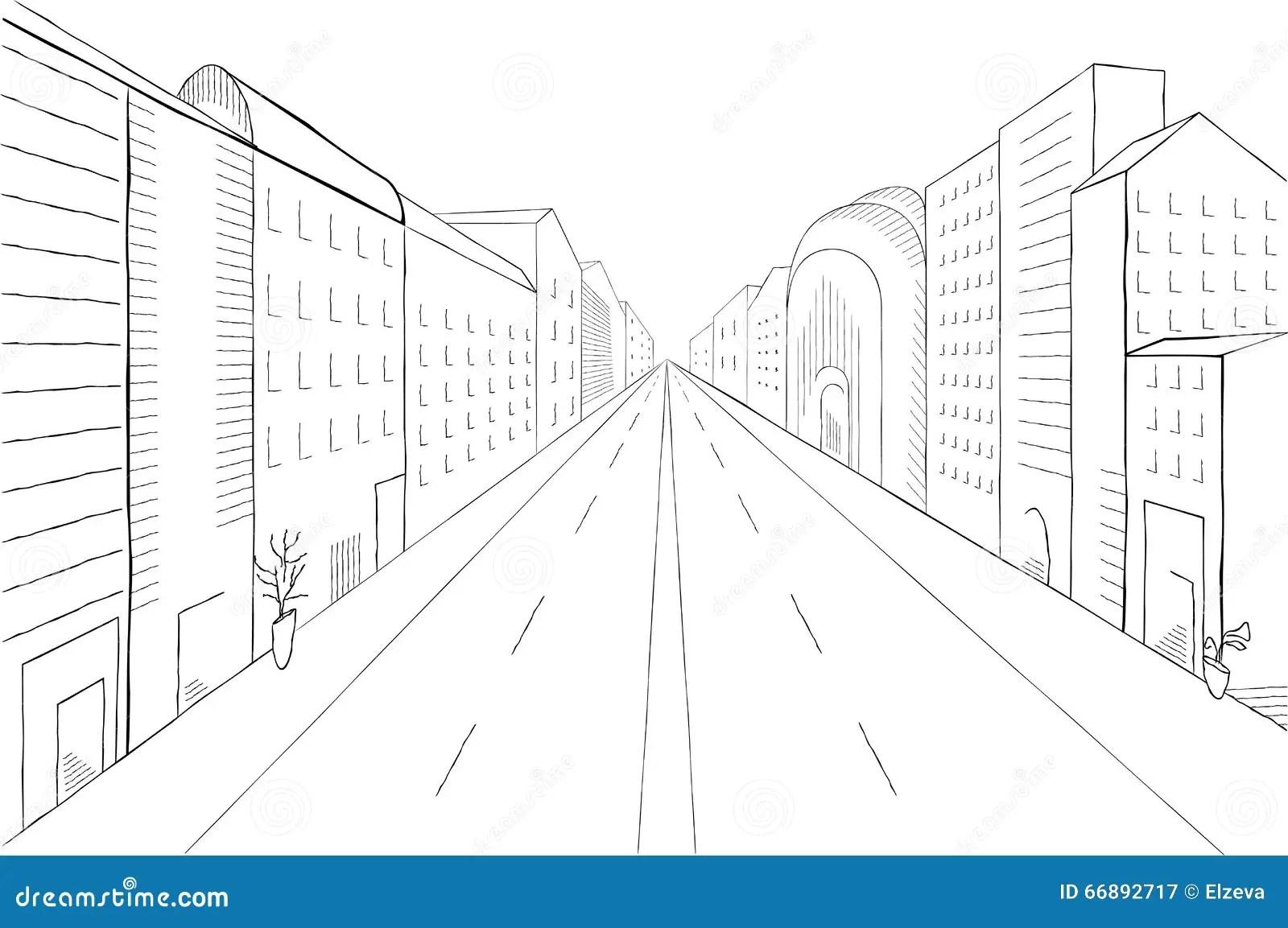 Urban Monochrome Landscape Stock Vector Illustration Of