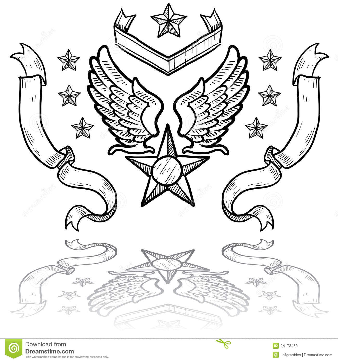 Us Air Force Insignia With Ribbons Stock Vector