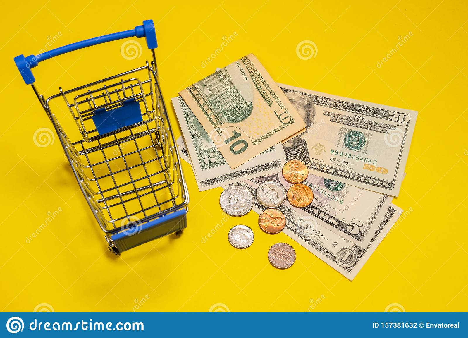Us Dollars And Cents Next To The Supermarket Shopping