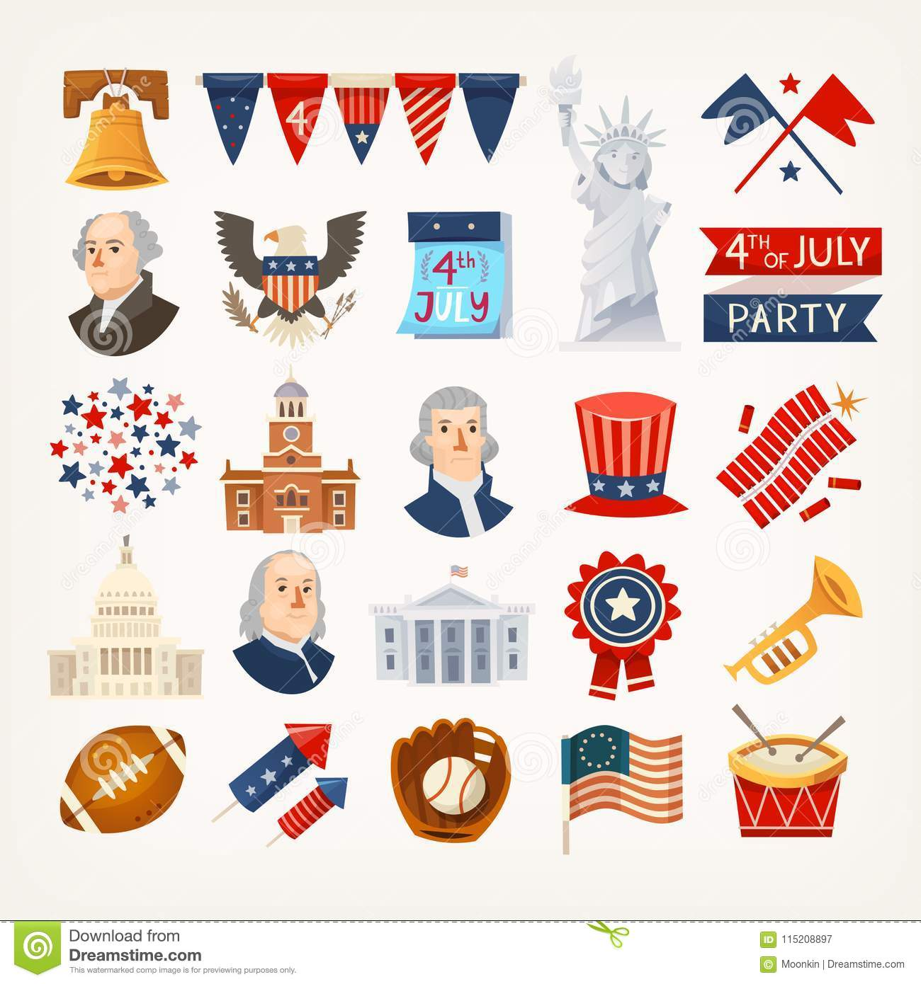 Usa Independence Day Icons And Symbols Stock Vector