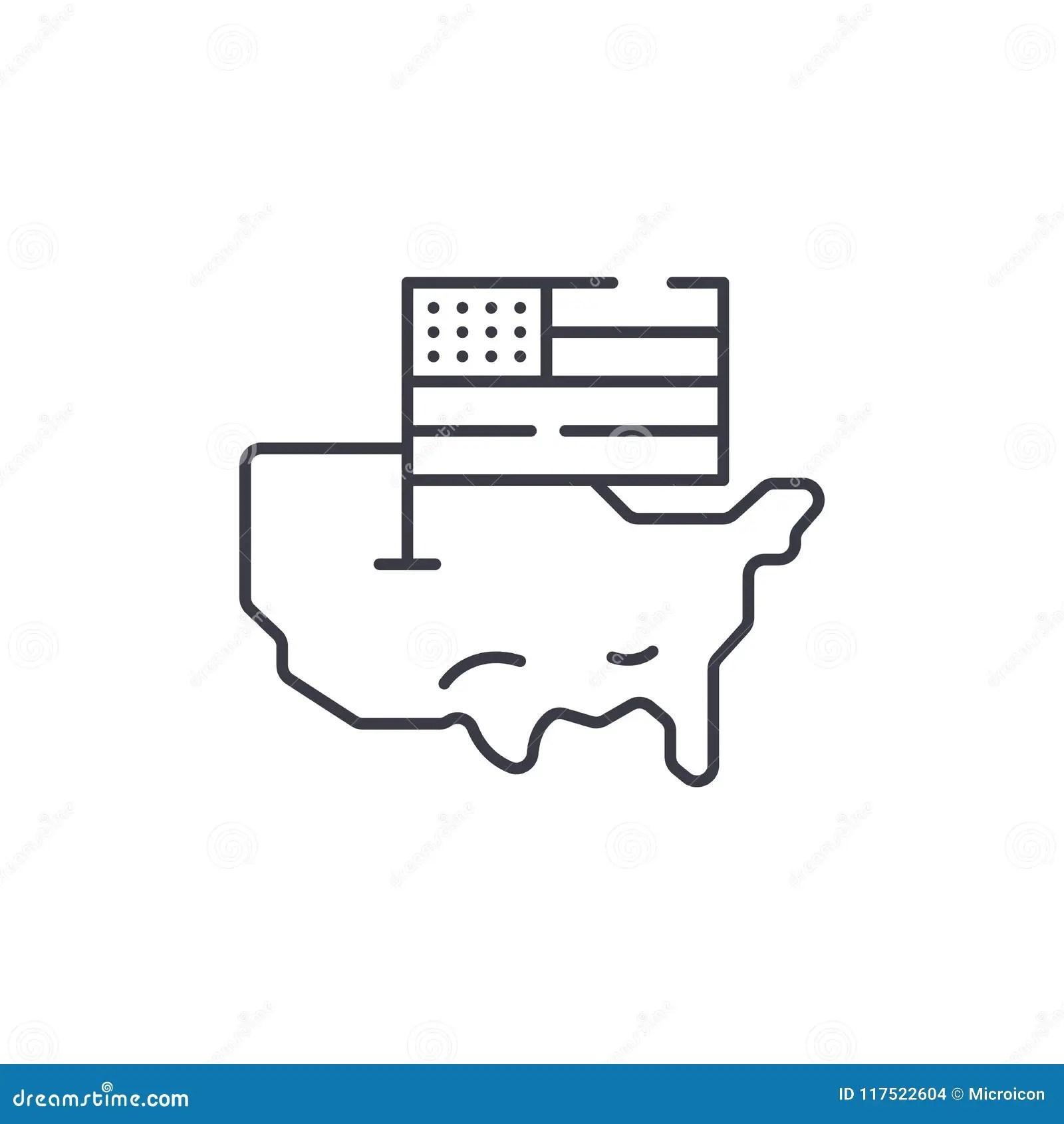 Usa Map And Flag Linear Icon Concept Usa Map And Flag