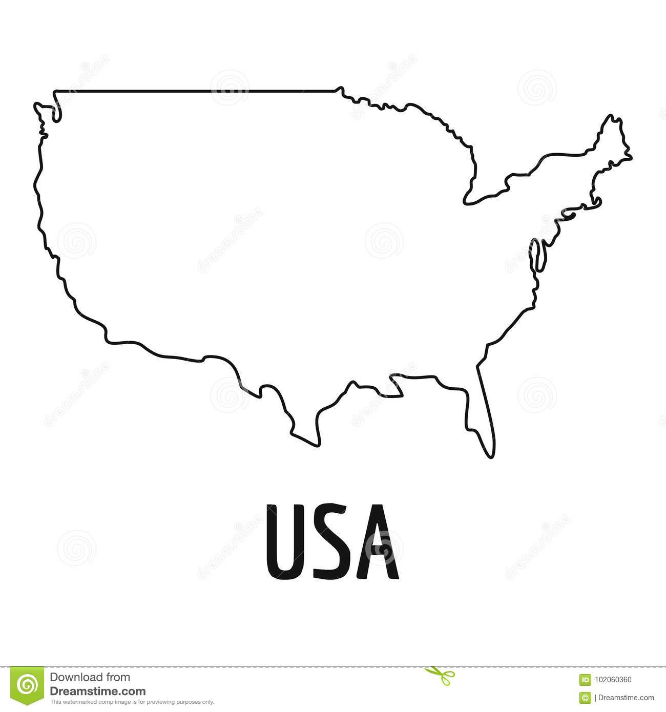 Usa Map Thin Line Vector Simple Stock Vector