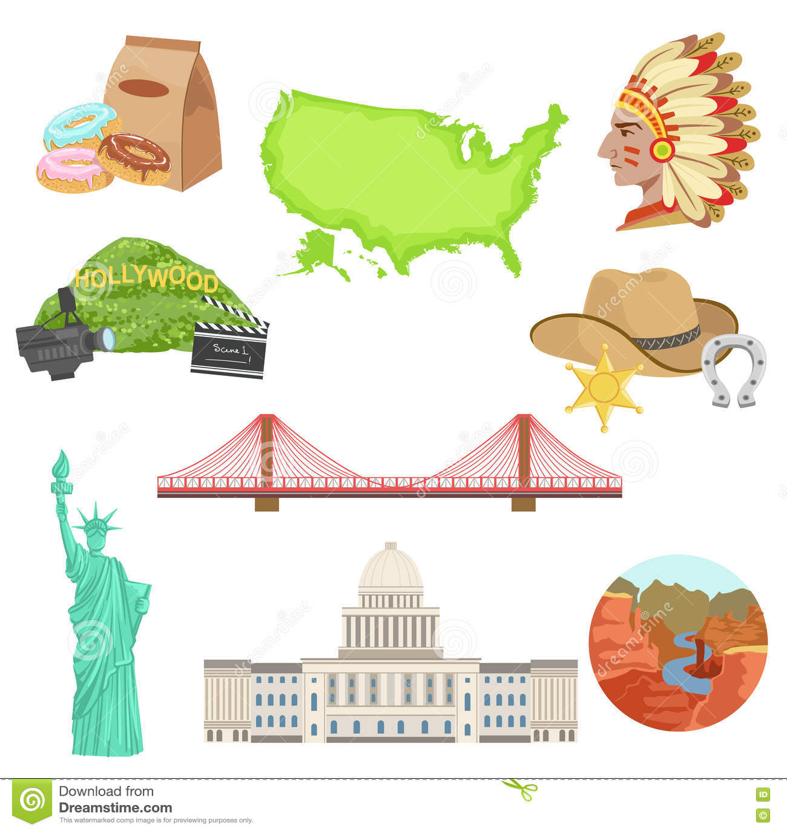 Usa National Symbols Set Stock Vector Illustration Of