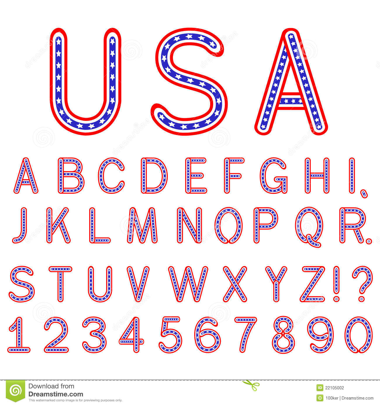 Usa Symbol Alphabet Letters Isolated Stock Vector