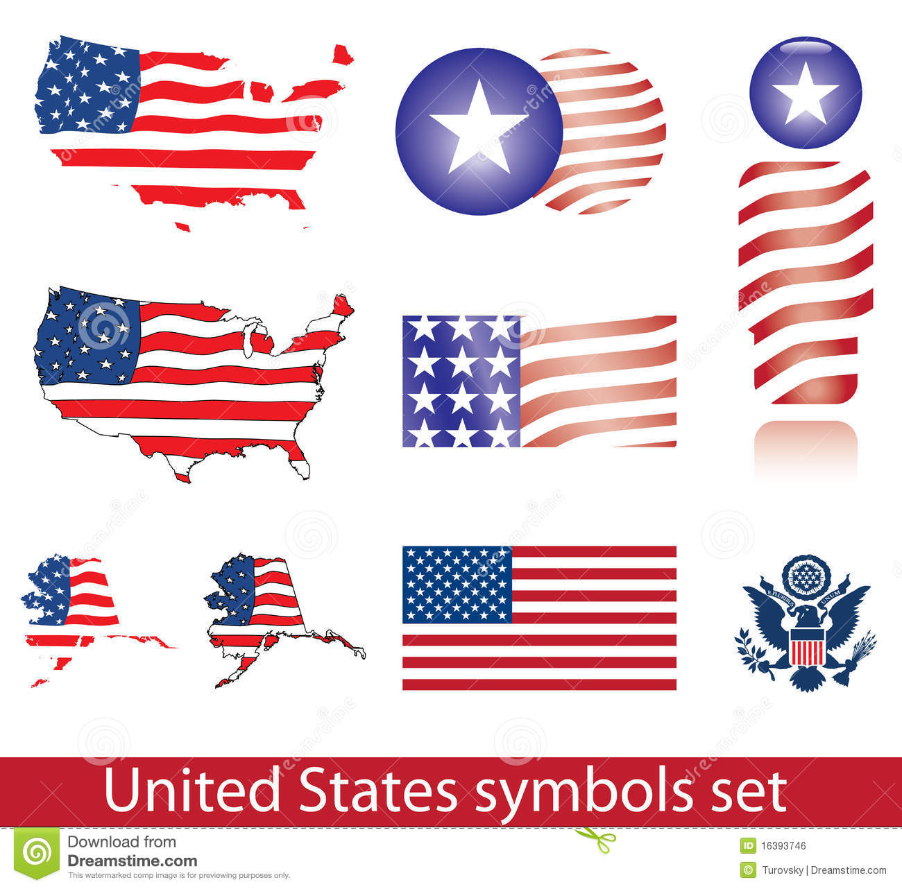 Usa Symbols Set Stock Vector Illustration Of Flag North