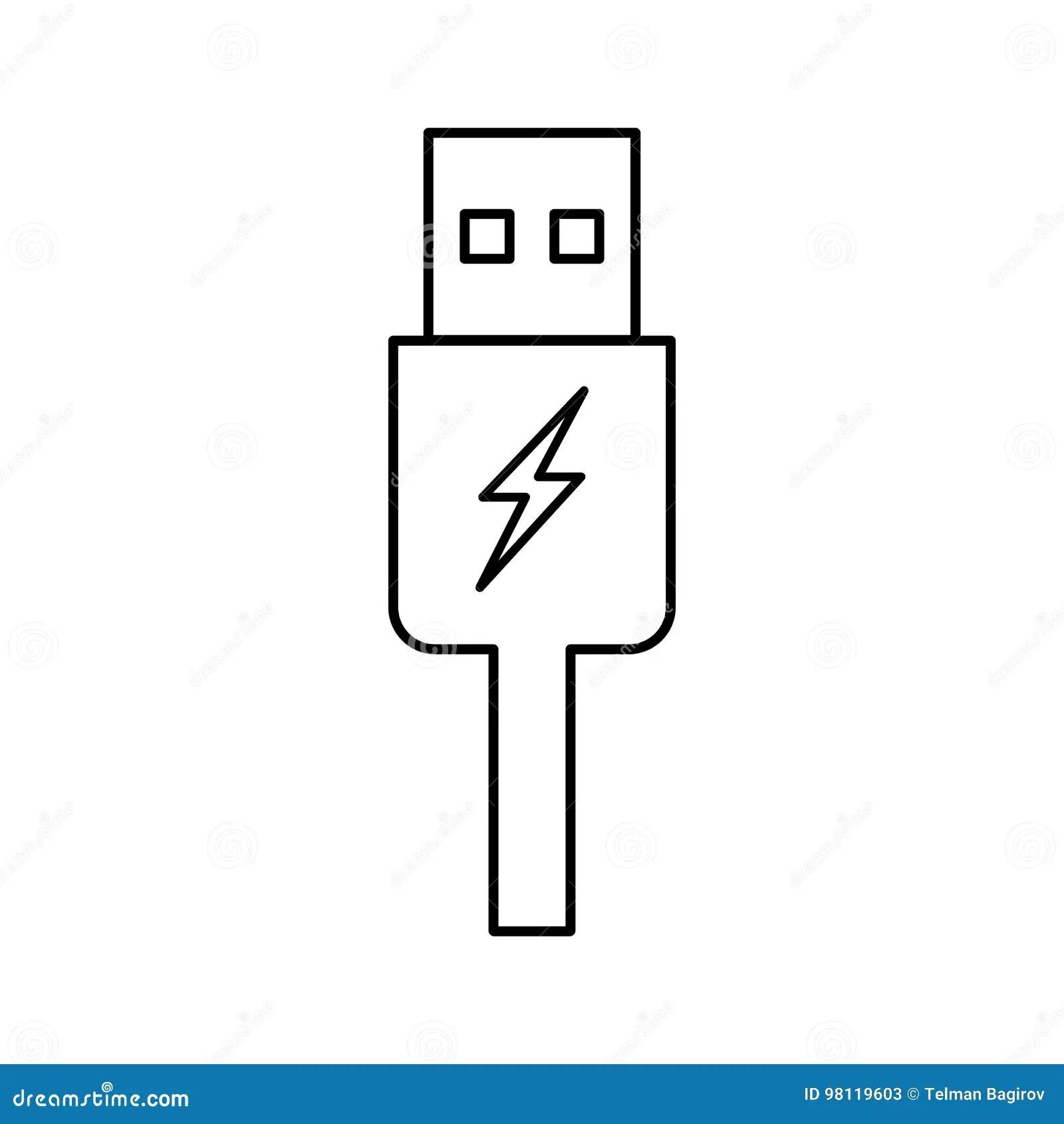 Usb Charging Plug Icon On White Background Stock