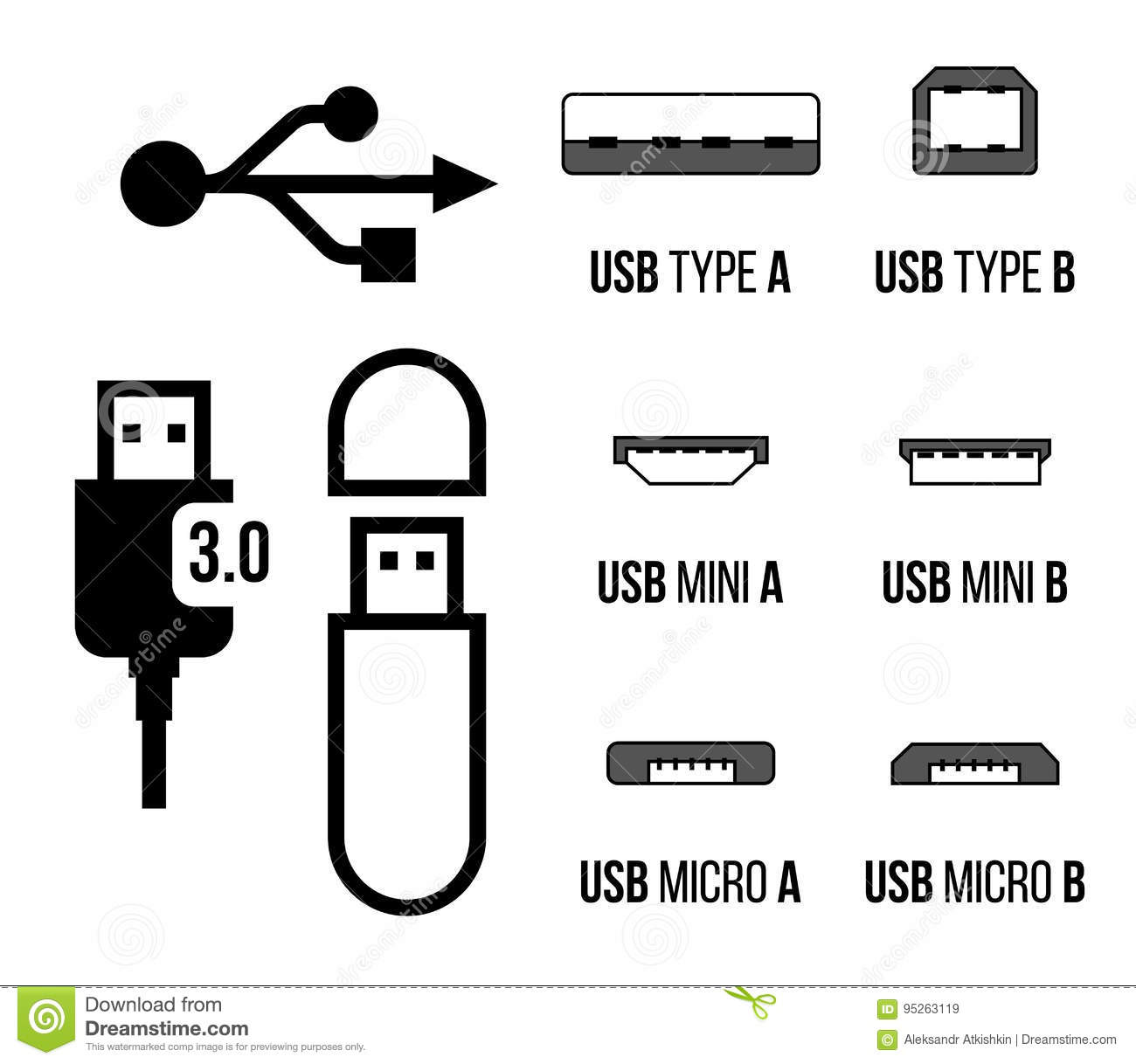 USB sockets icon stock vector. Illustration of adapter