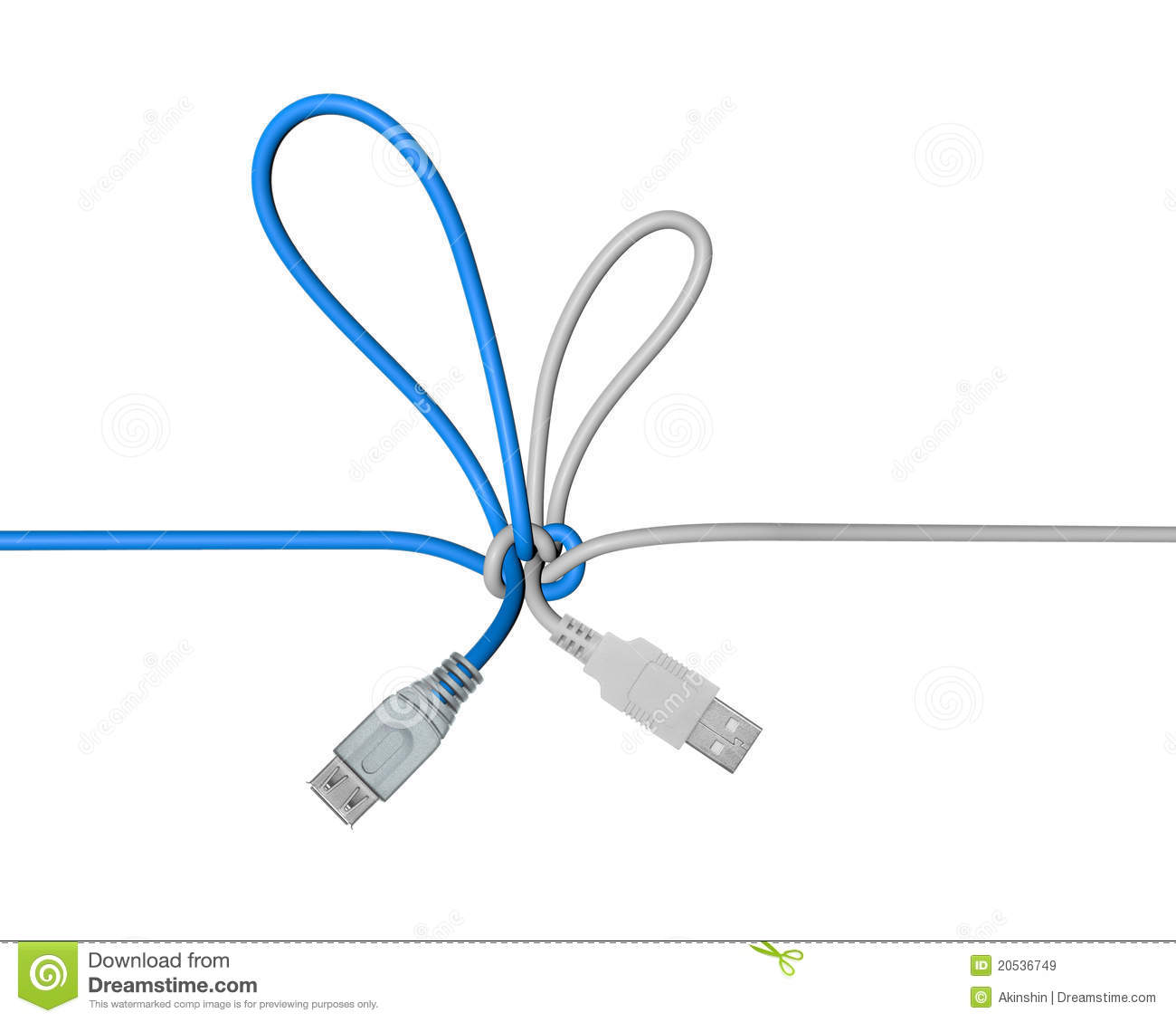 hight resolution of usb wire tied in a knot