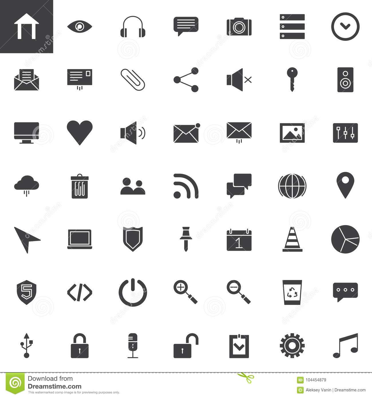 User Interface Essentials Vector Icons Set Stock Vector