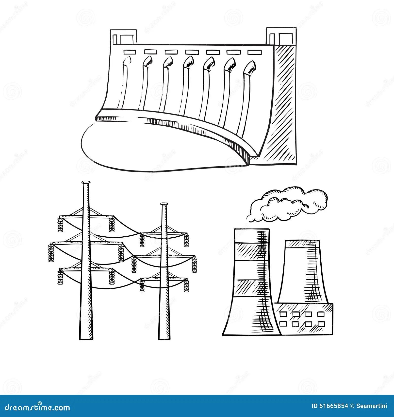 Usines De Courant électrique Et Icônes De Croquis De Tours