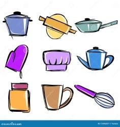 Utensilios de cocina ilustración del vector Ilustración