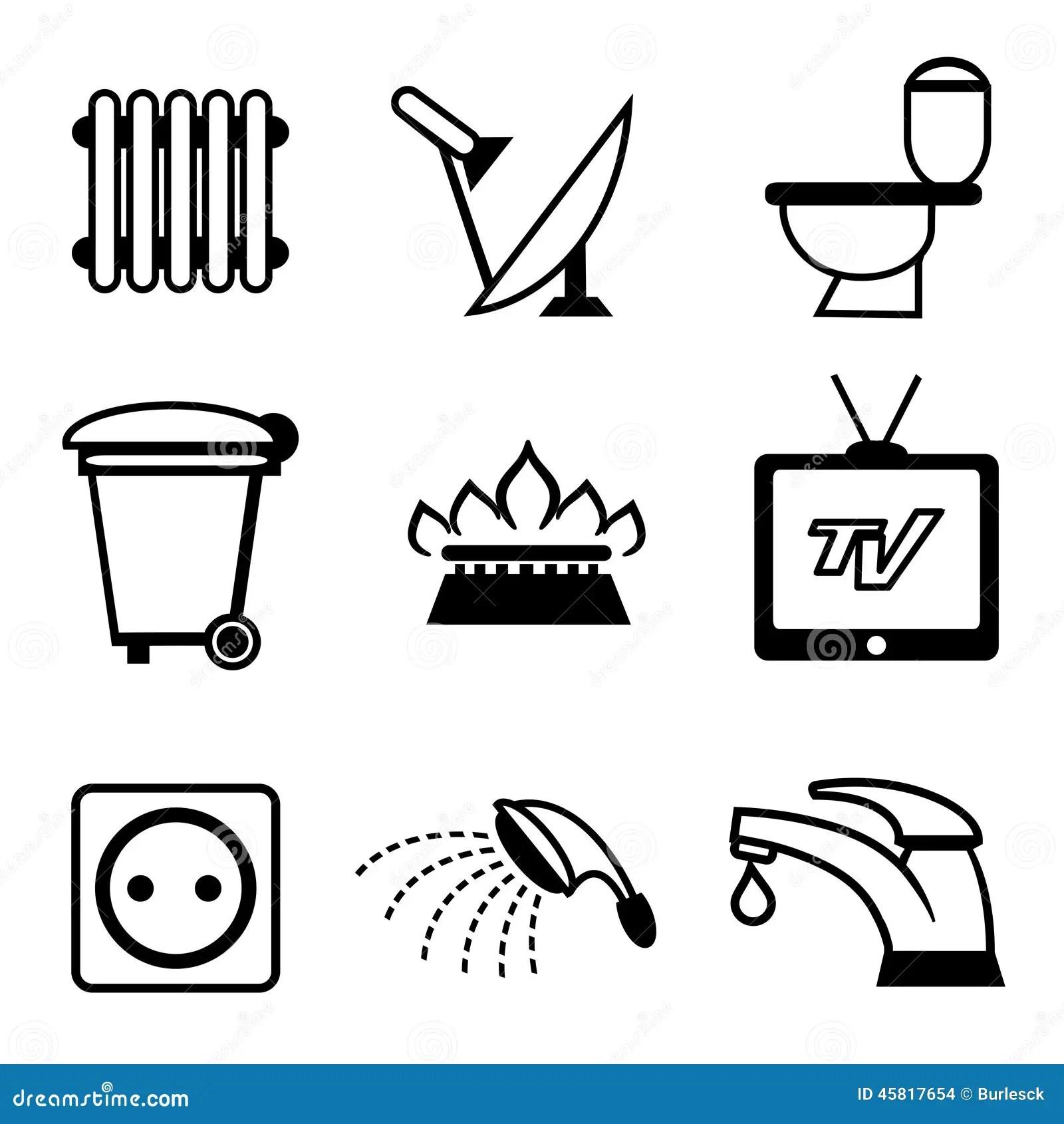 Utilities Icons Stock Vector Illustration Of Plumbing