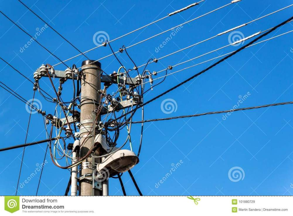 medium resolution of utility pole or power pole column with electric disconnect power blue clear sky three phase power line connection
