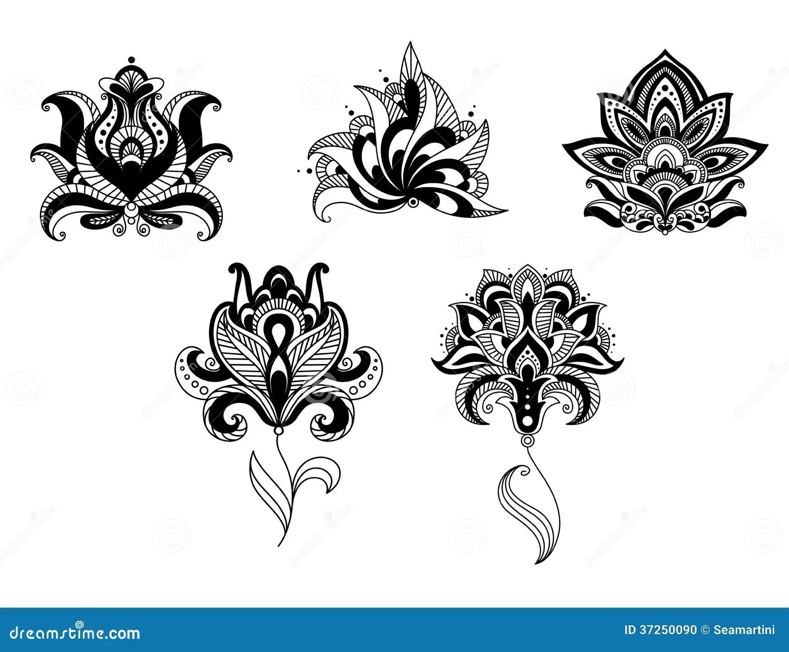 Utsmyckad In R Och Persisk Uppsattning For Blom Design