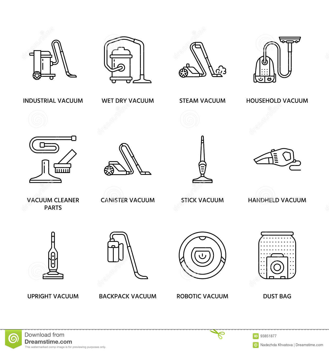 Vacuum Cleaners Colored Flat Line Icons Different Vacuums