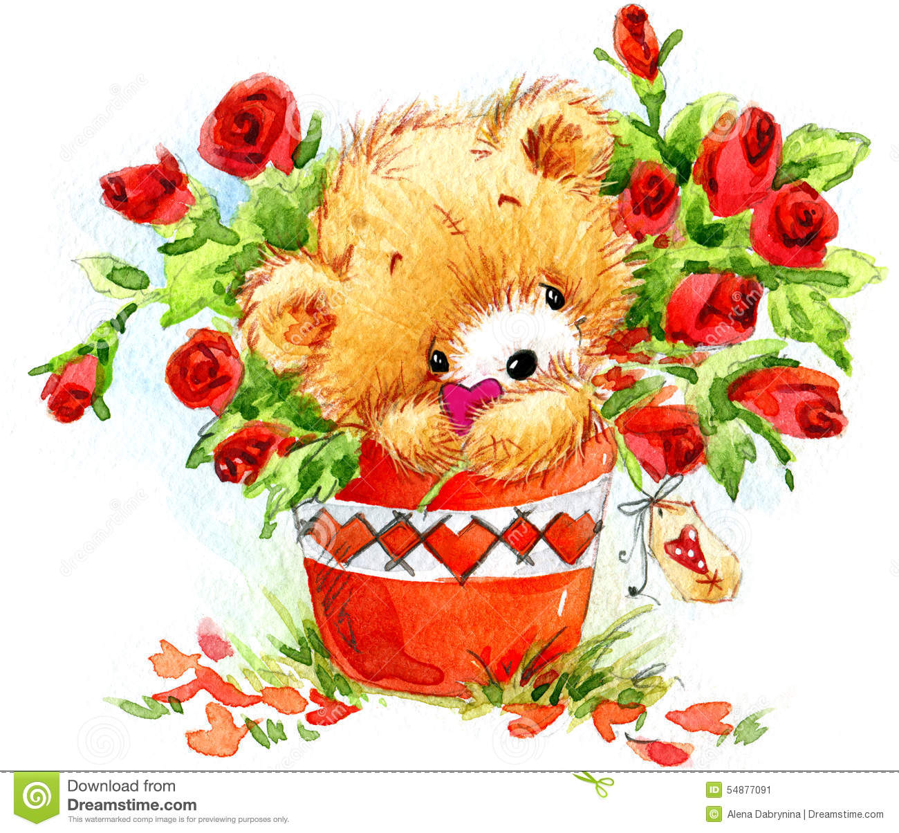 Valentine Day Funny Teddy Bear And Red Heart Stock