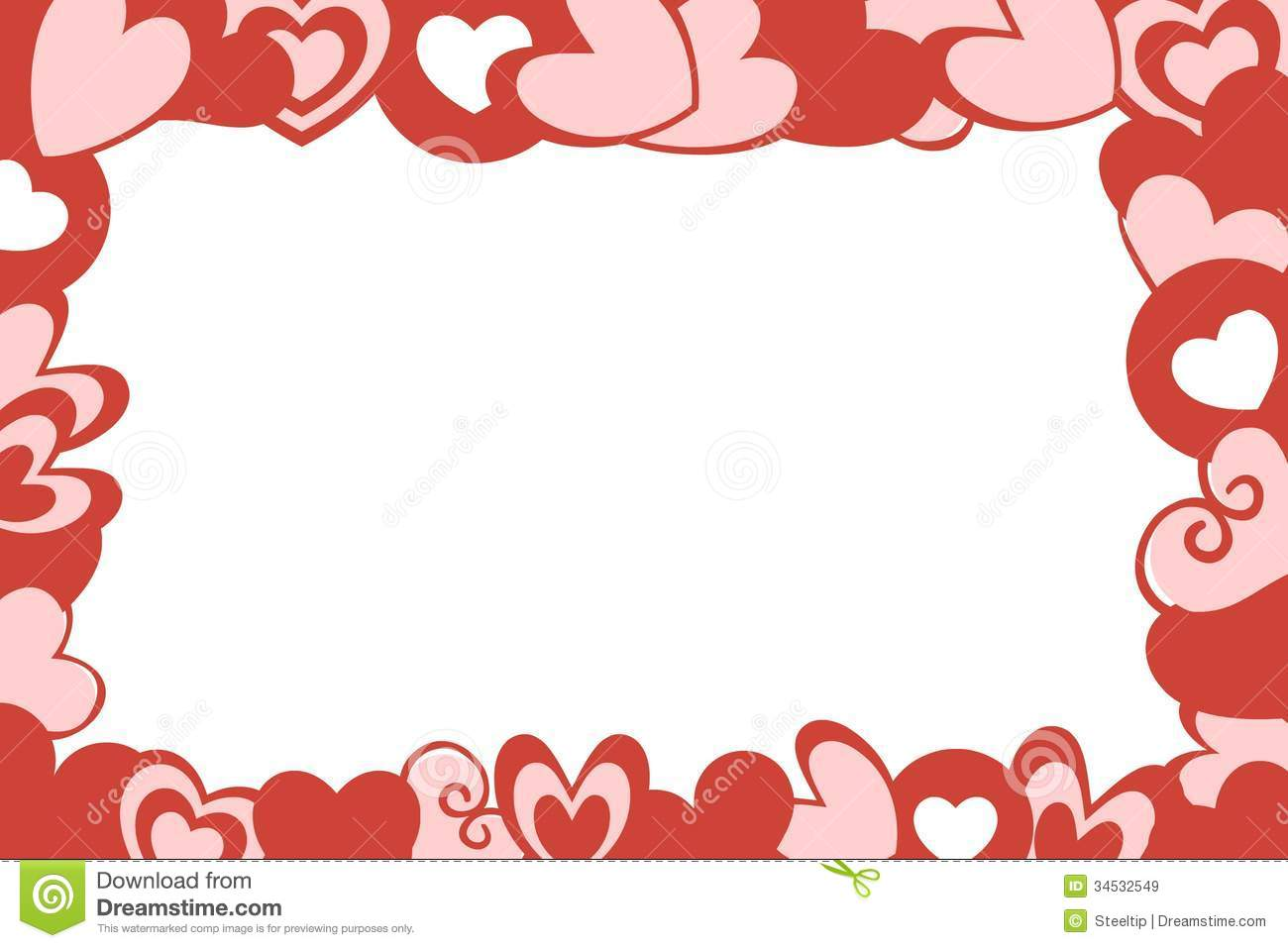 Christmas Falling Snow Wallpaper Note 3 Valentine Hearts Frame White Background Stock Illustration
