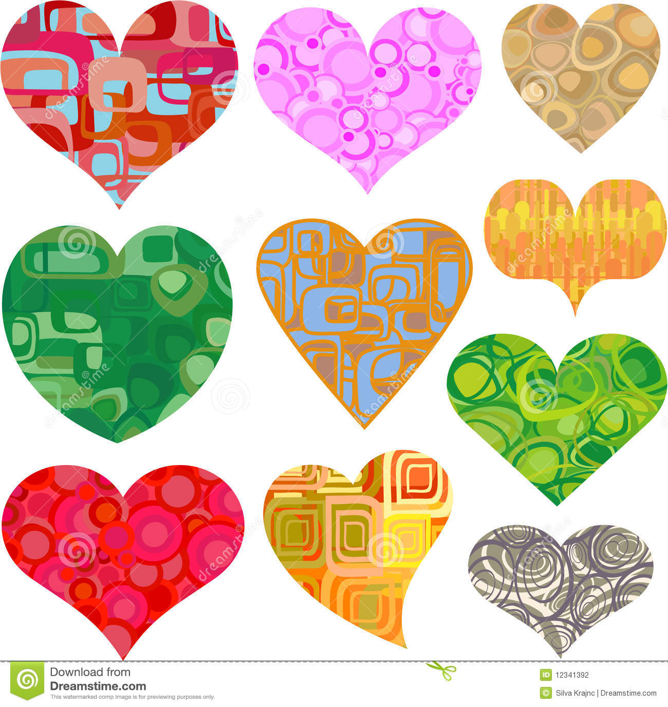 Valentine Hearts In Retro Patterns Vector Stock Vector