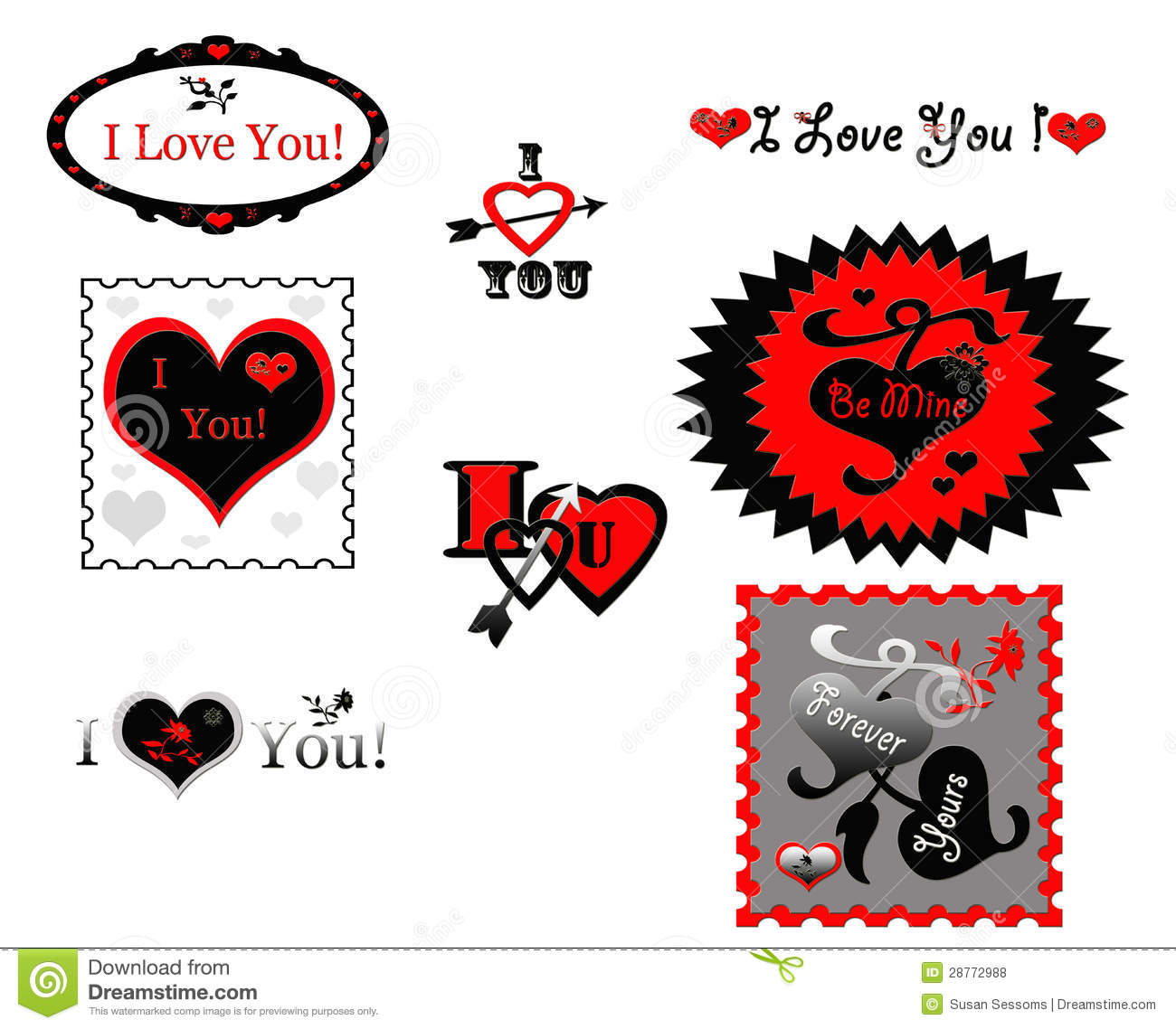 Valentine Love Stamps Stickers Icons Royalty Free Stock