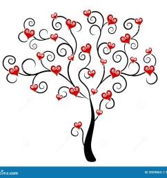 valentine s day hearts on tree clip art [ 1300 x 1154 Pixel ]