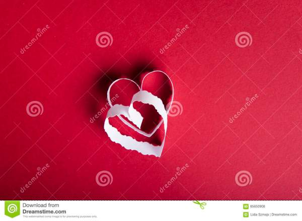 Valentines Day Red Background And White Paper Hearts