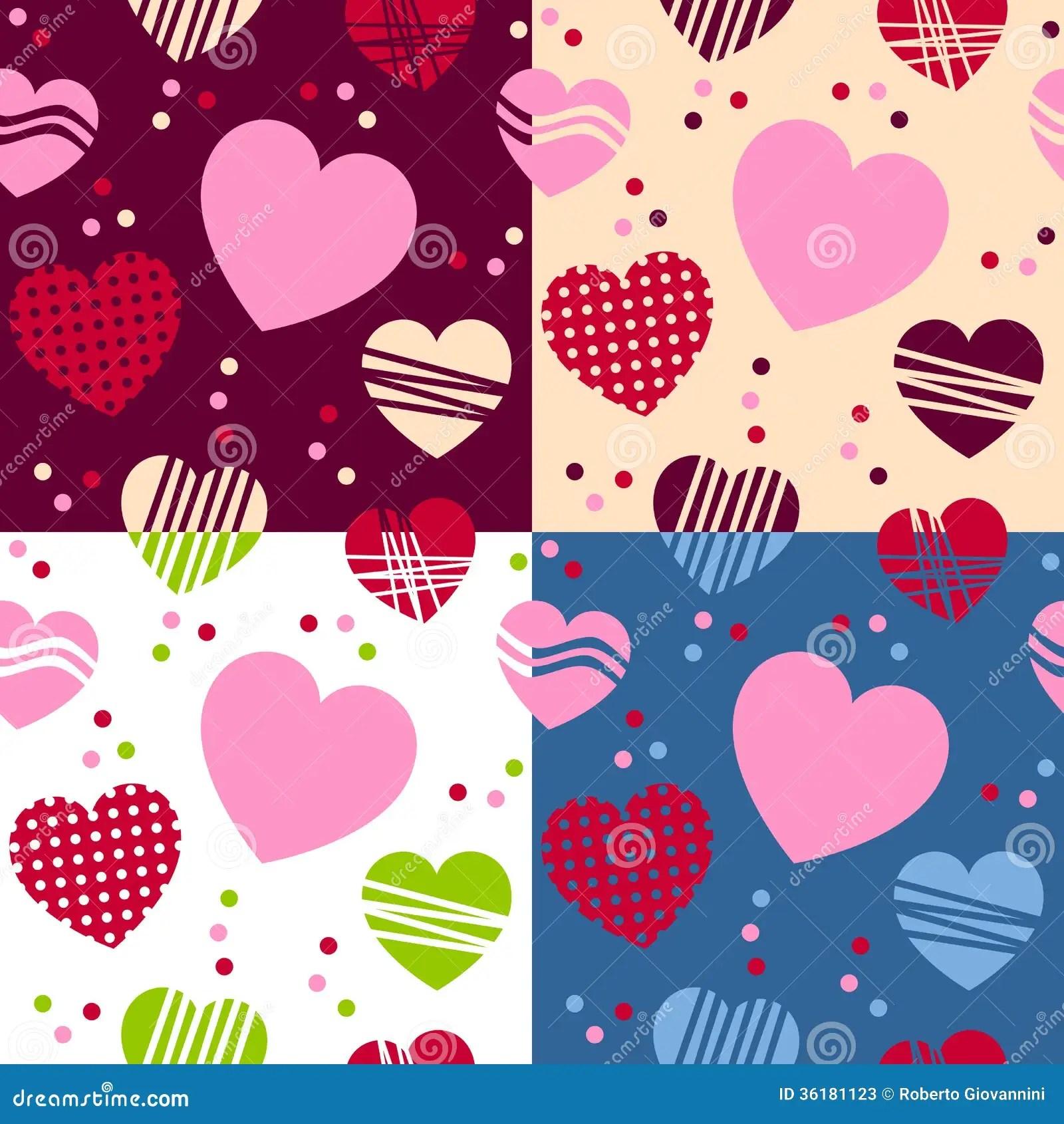 Valentine S Day Seamless Patterns Stock Photos