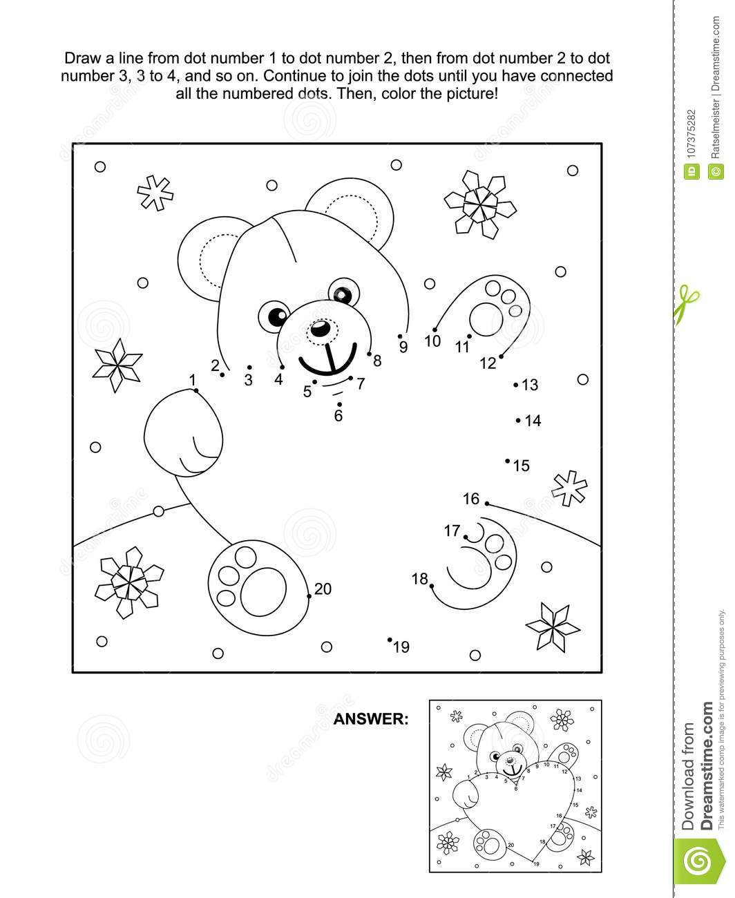 Valentine S Day Dot To Dot And Coloring Page With Teddy Bear And Heart Stock Vector