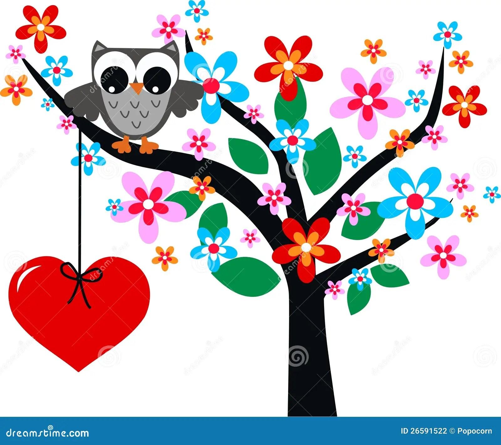 Cute Owl Cartoon Wallpaper Valentines Day Or Birthday Stock Illustration