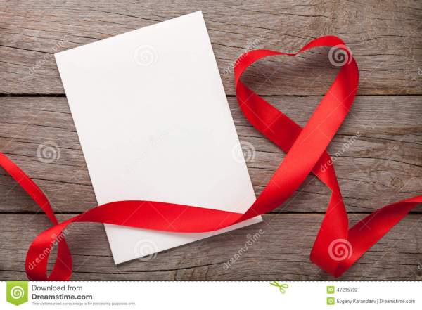 Valentines Day Heart Shaped Red Ribbon And Greeting Card