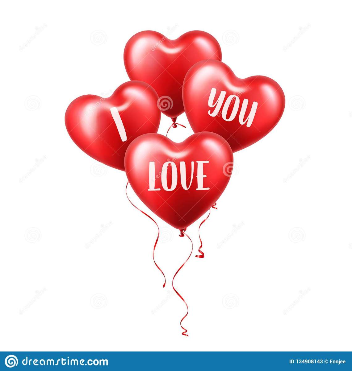 Download Valentines Day Red Balloon With Ribbon. Heart Shape. Love ...