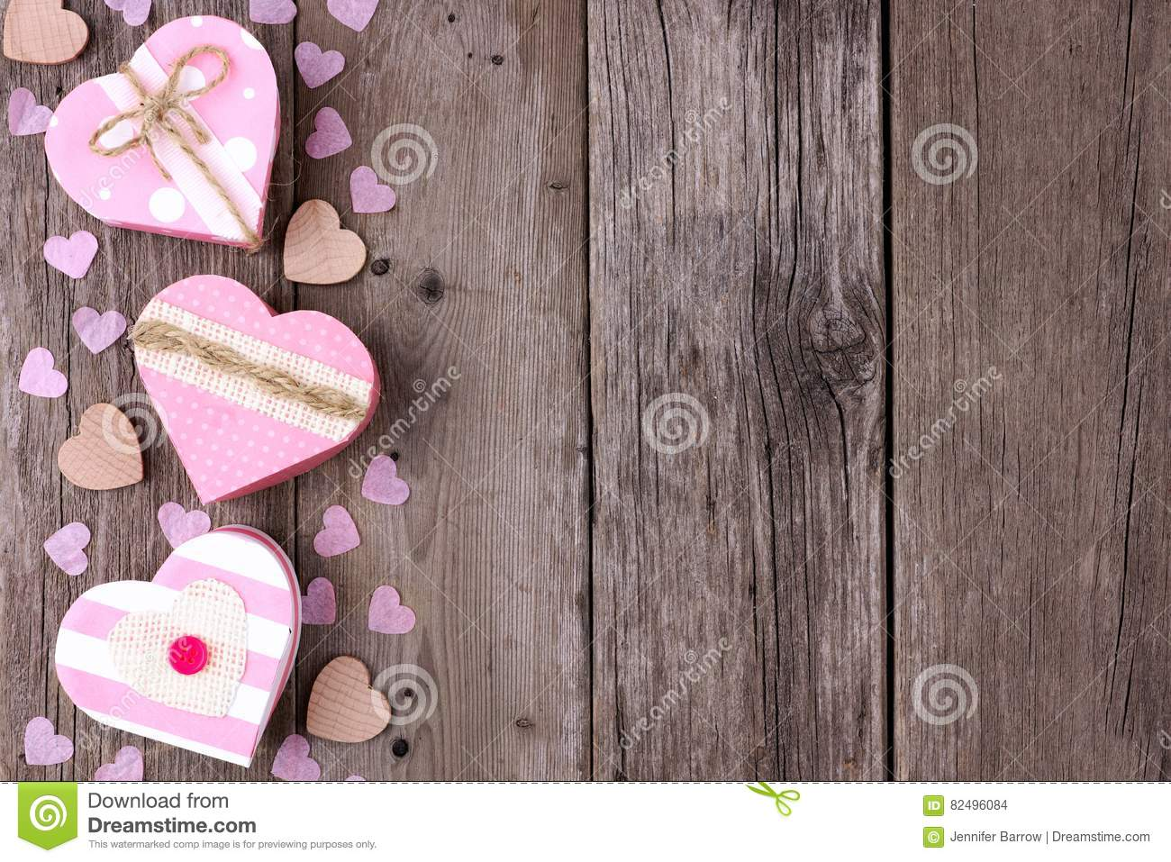Valentines Day Side Border Of Heartshaped Gift Boxes On