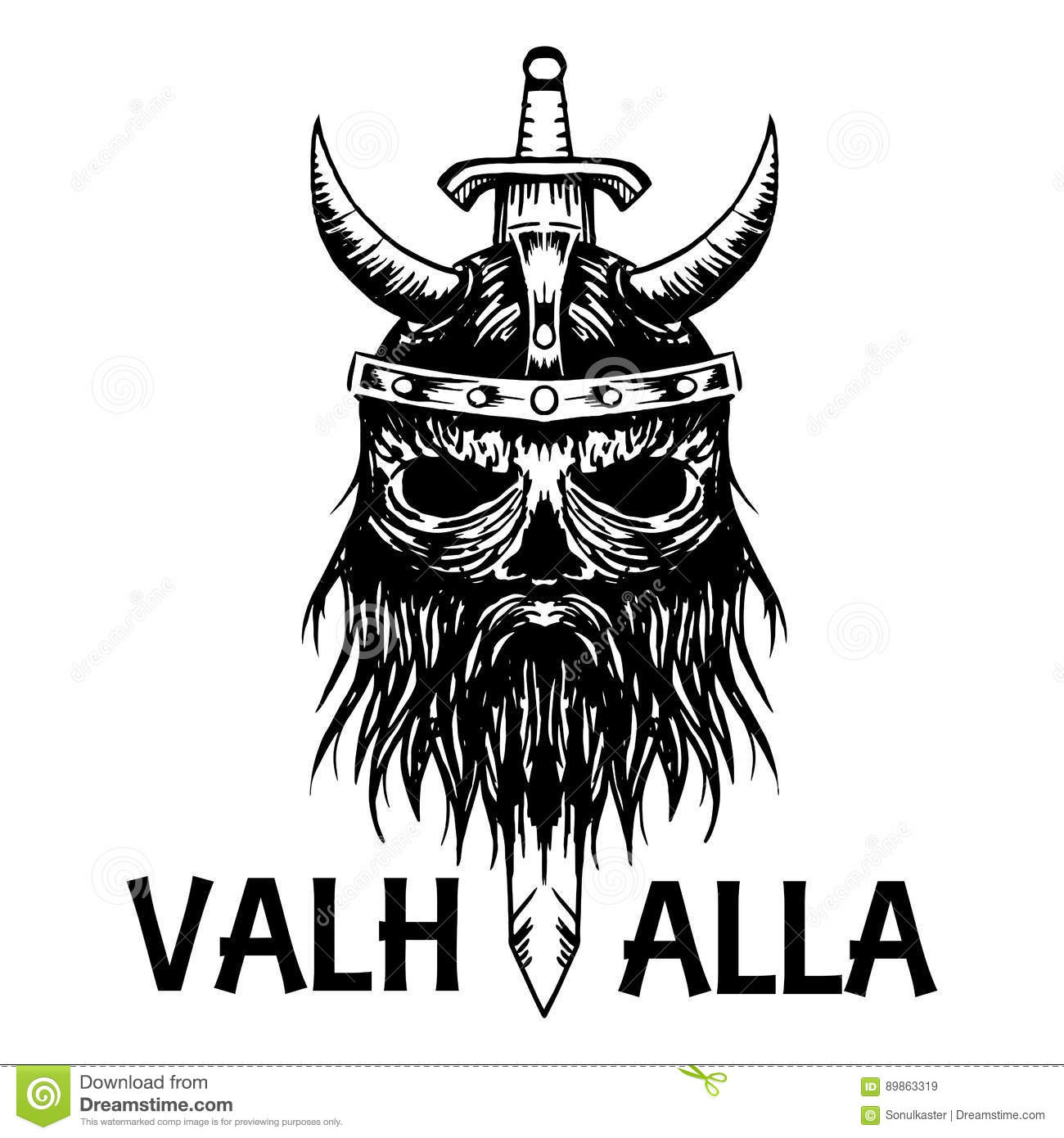 Valhalla Symbol Of Scandinavian Ancient Viking Head Vector