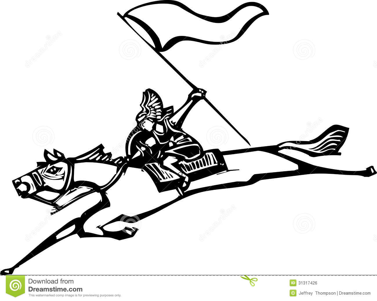 Valkyrie With Flag Stock Vector Illustration Of Flag