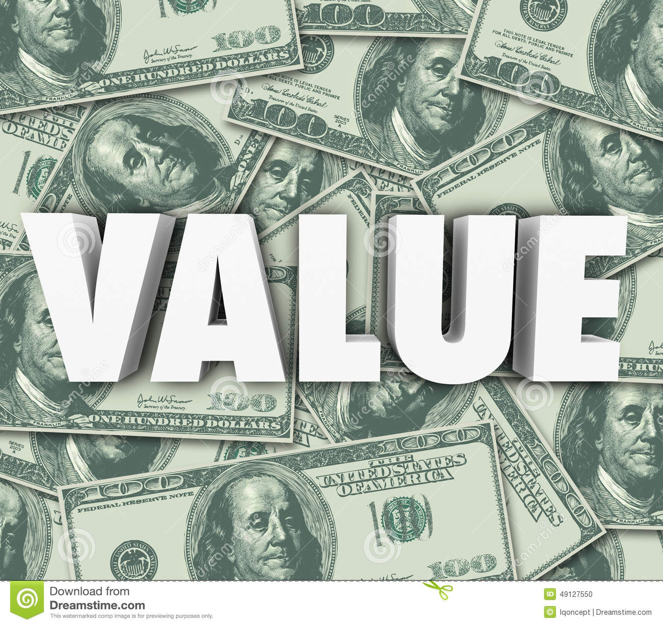 Value 3d Word Money Background Asset Worth Price Cost Stock Illustration