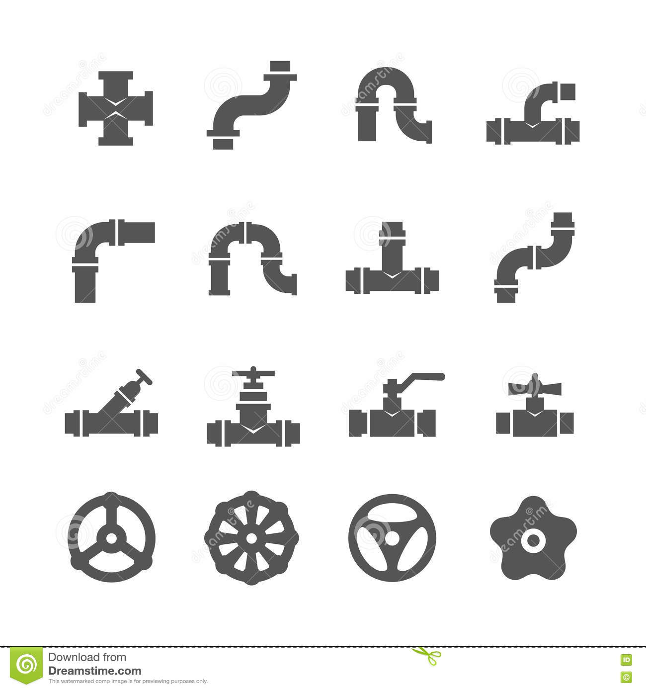 Plastic Pipe Connection Set Icons Vector Illustration