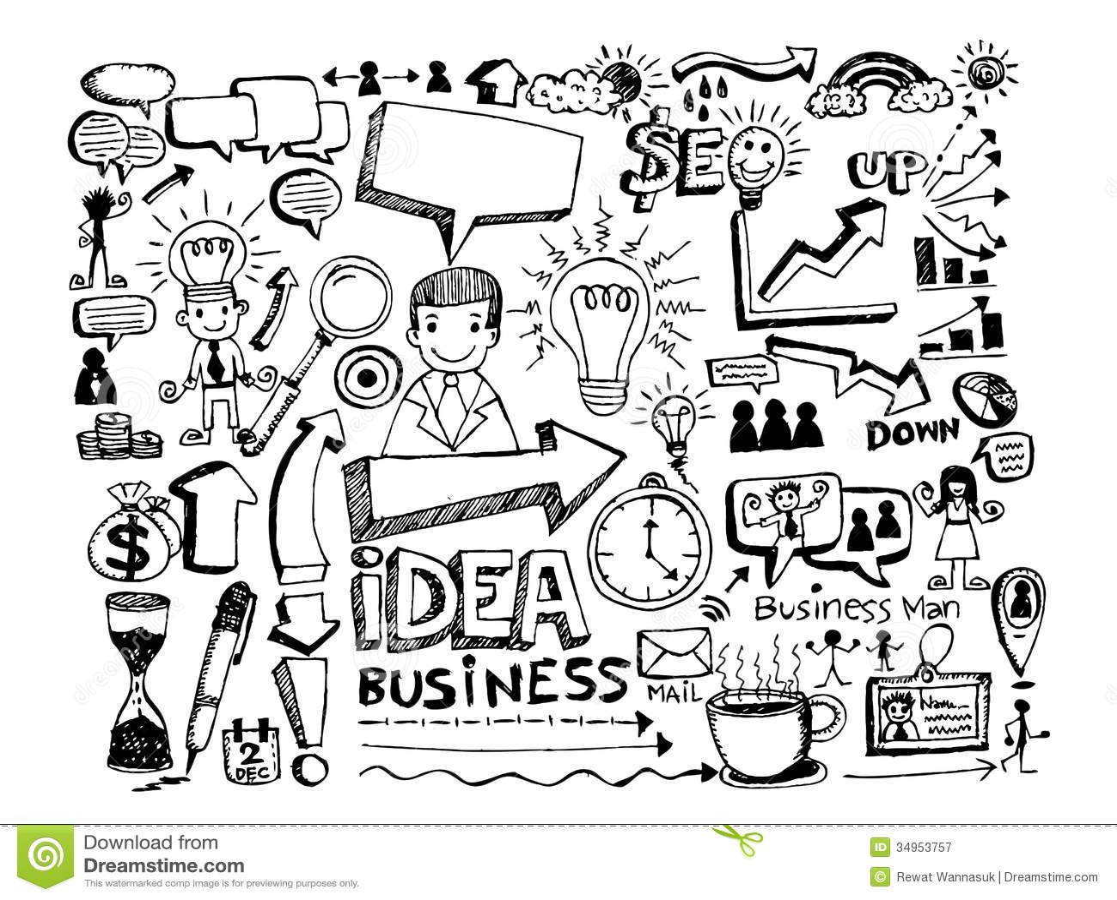Van De Bedrijfs Handkrabbel Krabbels Stock Illustratie