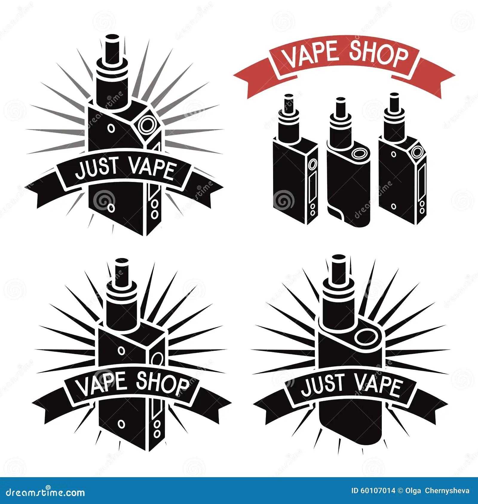 Vape Shop Logo Icons E Cigarette Stock Vector
