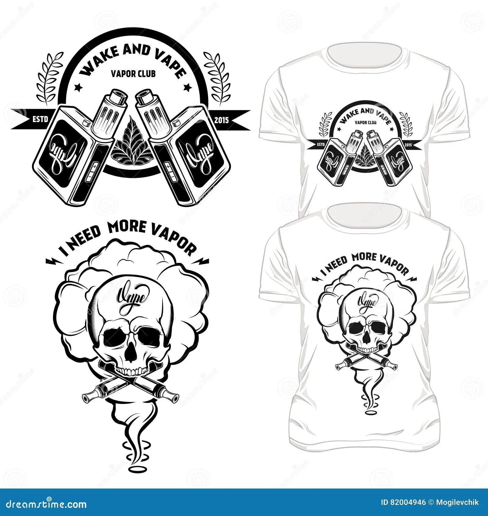 Vape T Shirt Designs Set Stock Vector Illustration Of