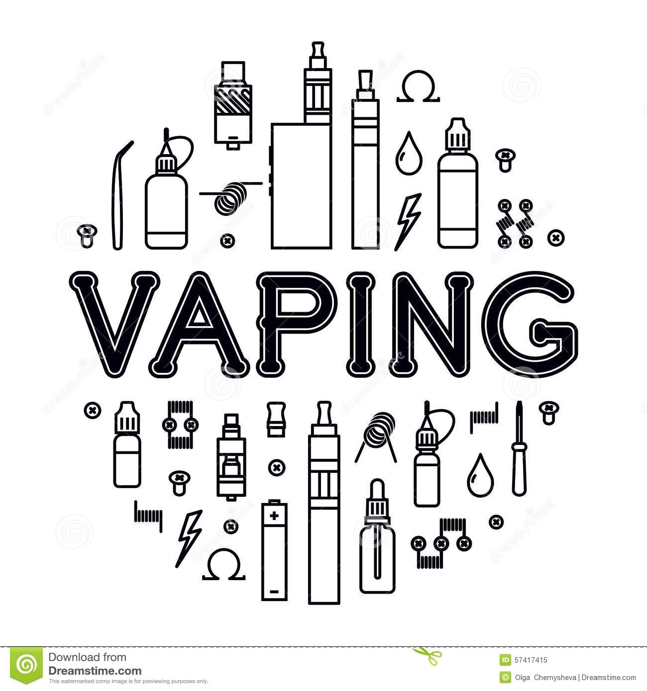 Vaping Icons Set Stock Vector