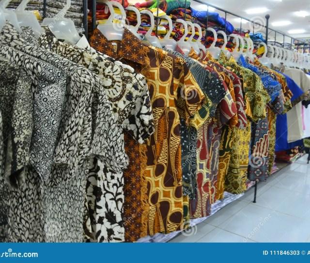 Various Batik Cloth Hanging At Sale In Store