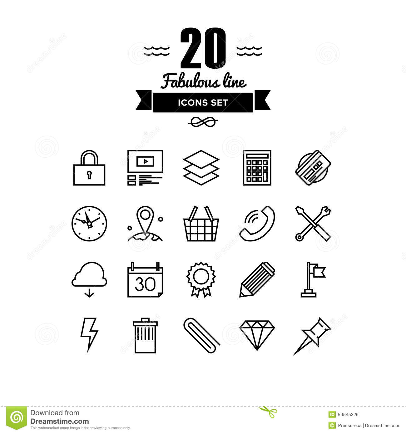 Various Business Elements Line Icons Set Stock Vector