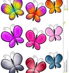 a clip art illustration featuring colourful butterfly borders or dividers [ 1065 x 1300 Pixel ]