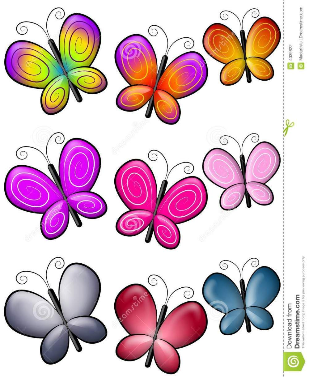 medium resolution of a clip art illustration featuring colourful butterfly borders or dividers