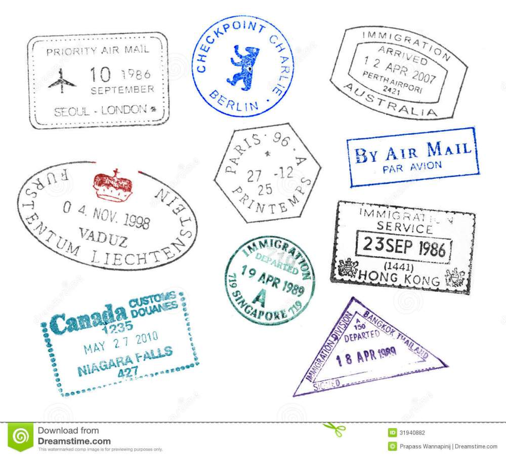 medium resolution of various countries passport stamps