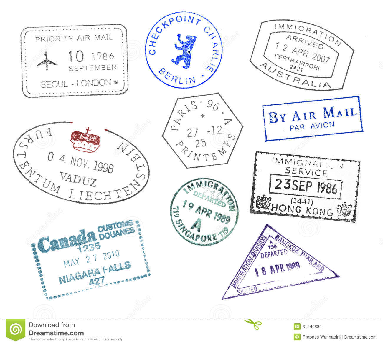 hight resolution of various countries passport stamps